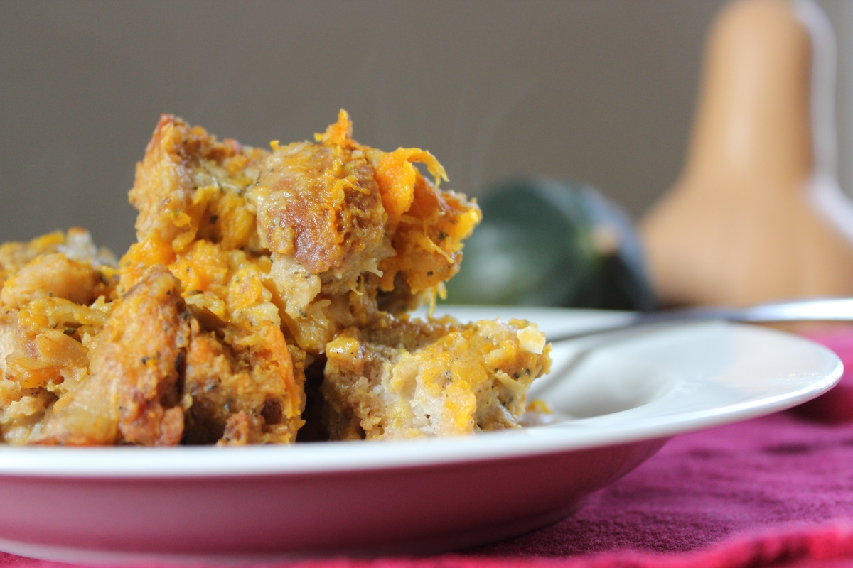 Savory Bread Pudding with Squash & Sage